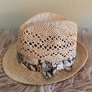 Light blush pink fedora style sun hat
